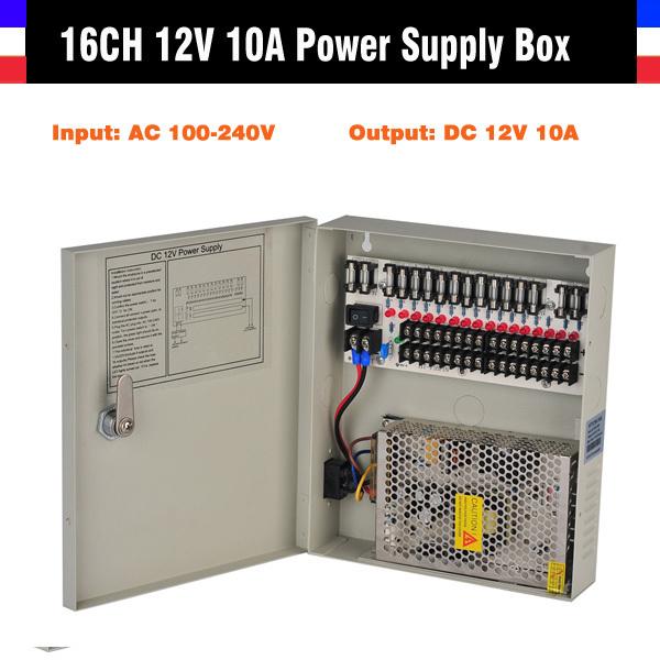 16CH CCTV Power Supply 12V 10A CCTV Camera PTZ IR Illuminator CCTV Power Box For CCTV Security Camera(China (Mainland))