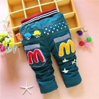 4pc/lot kids jeans cartoon winter baby pants denim children trousers thicken girls boys clothes cotton wholesale panya 213