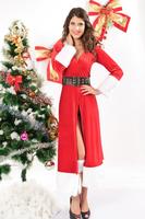 Winter Fantasy Costume Christmas Fur Dress Stretch Velvet Front Hooded Robe of Faux Fur Trim Satin Lined Hood & Removable Belts