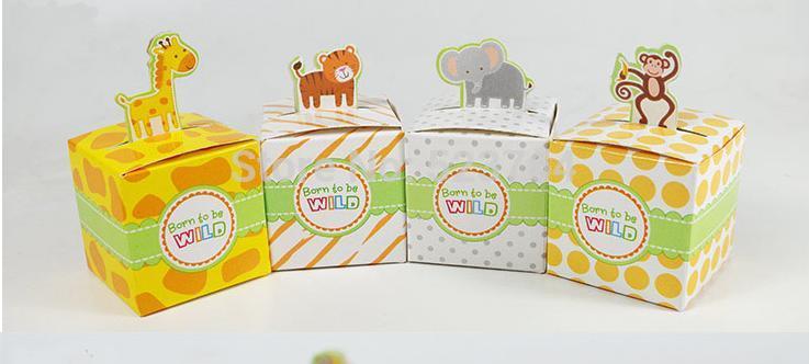 Top quality Giraffe/elephant/monkey/tiger animal candy box,Birthday Party Boxes, wedding box(China (Mainland))