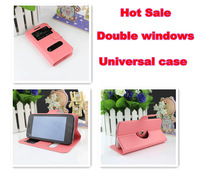 Double Window View Luxury Book Flip Leather Case Pouch Smart Cover for Gigabyte GSmart Guru G1