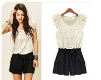 Free Shipping2014 summer dress new us and European brands t lace stitching Siamese trousers chiffon dress