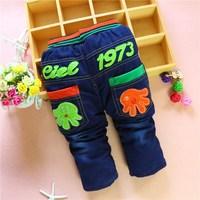4pc/lot baby jeans cartoon winter kids pants denim children trousers thicken girls boys clothes factory wholesale panya 212
