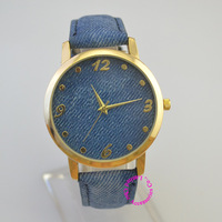 dress arrow cartoon denim fabric watch pattern Fashion Electronic clock hour hot cute new women man unisex lady girl watches