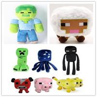 8pcs/lot Minecraft Plush Toys Cartoon Minecraft Game Doll Creeper Enderman Pig Squid Mooshroom Sheep Ocelot Zombie