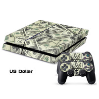 US Dollar Designer PVC Protector Skin Cover Case Sticker For Sony for PS4 System for Playstation 4 Console+2 Controller