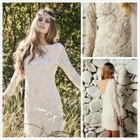 A-Line Bridal Gowns 2014 New Lace Bateau Neck Lace Long Sleeve V Back Open Elegant Mini Sexy Luxury Sheer Wedding Dress Custom m