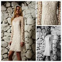 2014 A-Line Wedding Dresses Zipper Back Poet Long Sleeve Lace Elegant Mini Sexy Luxury Bridal Gowns Custom made