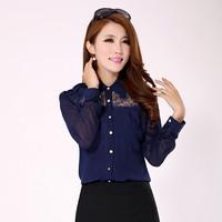 2014 Autumn New Products Korea Women Fashion Clothing Lapel Solid Chiffon Shirt Long Sleeve Big yards Tops
