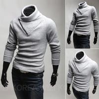 Free shipping 2014 new Korean version of the trend Slim Men angora sweater with high collar sweater shirt California hedging