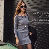 Vestidos Femininos 2014 Autumn Winter Women Dress Ladies Casual Long Sleeve Office Tops Black Grey Plus Size Vintage Top Dresses