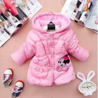 2014 New children winter coat girls warmly parkas kids clothes outwear hooded Children winter clothing zip