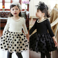 Free shipping Spring Autumn Cotton Long Sleeve Noble Polka Dot Tulle Girl Princess Dress With Pearls Necklace Black White