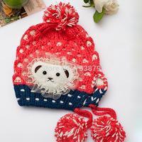 NEW Winter Warm Woolen Yarn Knitting Cap Girls Cute Bear Colorful Crochet Hat