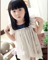 Free Shipping 5pc/ lot Hot sale Summer Sleeveless Denim Gauze Flower Kids Dress For Girl Tulle Dress White