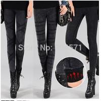 New 2014 Fashion Winter Women Denim Jeans Leggings Fleece Warm Thicken Slim Small Leg Pencil Trousers Middle Waist Elastic