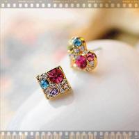 11.11 jewelrySouth Korea love shape square set auger asymmetric small crystal stud earrings Sweet joker earrings female