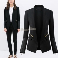 Hot sale Casual Coat blazer women Slim Cardigans suit jacket Leather Patchwork Formal Stand Collar Winter zipper Elegent B16