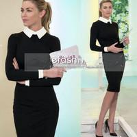 Hot! 2014 New Women Office Working Wear Winter Dress White Collar Pencil vestidos Slim Bodycon One Piece Plus size S-XXL