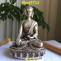 "20 cm tall Tibetan Buddhist bronze coated sivler carving dragon SHAKYAMUNI buddha statue 8 """