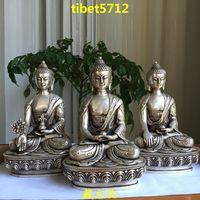 "8"" tall 3 pieces Tibetan Buddhist bronze silver coated SHAKYAMUNI ,Amitabha , medicine buddha statue"