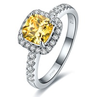 Top Quality Classic 3 Carat Cushion Cut SONA Synthetic Diamond Solitaire Engagement Ring for women  yellow stone or pink stone