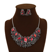 Christmas vintage jewelry sets for women retro jewelry accessories wedding crystal necklace & earrings set wholesale