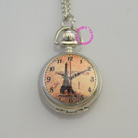 silver lady girl woman brown color paris eiffel tower pocket watch gift quartz vintage dress fashion casual hour