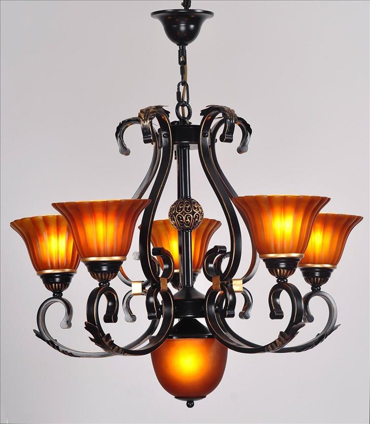 American pastoral living room lamps 5 + 1 bedroom chandelier antique wrought iron chandelier Continental Restaurant den chandeli(China (Mainland))