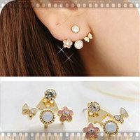 11.11 jewelrylovely bowknot flowers set auger multielement stud earrings DY