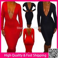 Black Red Deep V Sexy Women Dress Long Sleeve Autumn Dress Bodycon Pary Club Dresses Wholesale Casual Dress SML Vestidos