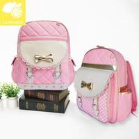 2014 NEW lemonkid children schoolbag PU Sweet princess nobility Girls Backpack High capacity 24324