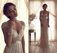 High Quality 2015 Vintage Sheath Wedding Dresses Sheer Anna Campbell Lace Bridal Gowns Lace Backless Church Wedding Custom Beads