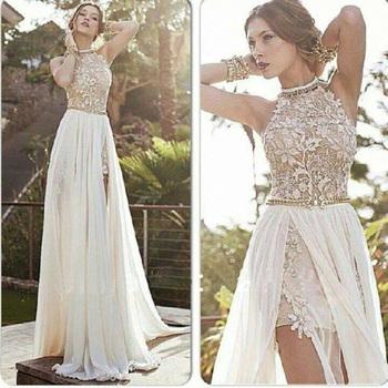 2015 новое поступление сексуальный белый шифон бисером аппликации кружева пром платья длинные холтер разрез стороны весенний вечер ну вечеринку платье