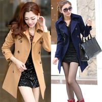 2014 New Arrival Fashion Korean Women's Winter Pure Color Woolen Dust Coats Slimming Dustcoats Long Sleeve Windbreaker Overcoats