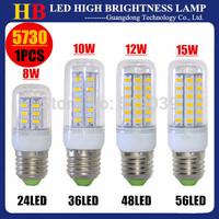 New Arrivals SMD5730 5630 E27 E14 G9 GU10 B22 Base 24/36/48/56Led 110/220V LED Corn bulb Lamp 8W 10W 12W 15W LED Family lighting