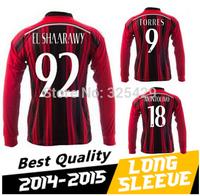 2014 15 AC milan long sleeve soccer jersey AC milan home and away white 2015 thai quality full shirts custom name,free shipping