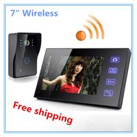 """2.4G 7"""" Wireless Door Phone Doorbell Video Intercom Home Seciurity System Touch Key Camera"""