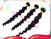 "Hot Sale 8""-30"" 3pcs  Brazilian Loose Wave Virgin Hair 100% Unprocessed Human Hair Extension DHL Free, Grade 5A Tangle  HF08"
