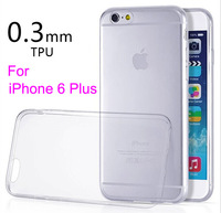 0.3MM Ultra-Slim Transparent TPU Protective Back Case Cover for Apple iPhone 6 Plus 5.5 inch Phone Case High Quality