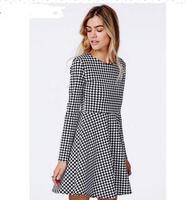 Fashion clothes women 2014 Houndstooth Autumn/winter Female dress cotton mini dress O-neck long sleeve Women Winter dress #3091