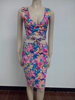2014  new  fashion women  print clothing  sleeveless  bandage  bodycon  dresses  YH620