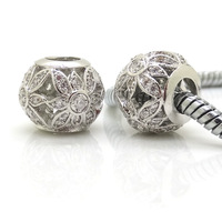 Hot 2014 New Authentic 100% 925 Sterling Silver Zircon Sun Flower Beads Charm Women Jewelry DIY Fits Pandora Bracelet & Necklace