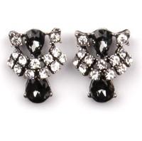 Fashion Exaggerated Black Gemstone Earrings