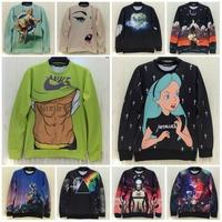 2014 Winter New Harajuku Style Two Side High Quality 3D Print Unisex Sweatshirt Woman Casual Hoodies Man Brand Coat Jacket Tops