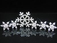 2014 New Snowflake Style Frozen Princess White Pearl Crystal Snow Queen Elsa Hair pins Set (1 Hair Clip + 5 Small Hair Pin)