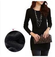 2014 Fashion Autumn and Winter Long-sleeve Basic Women Slim Medium-long Plus Velvet Thickening Thermal Basic T-shirt