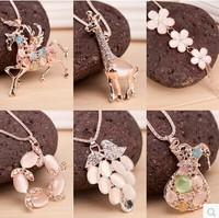 Fashion animal necklace sweater chain opal flowers Pegasus giraffes Bottle pendant etc women xmas gifts Mix Order 10pcs/lot
