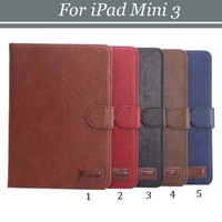 1pcs/lot Free Shipping Book Style 4 Card Slots Retro Crazy Horse PU Leather Case with Stand For iPad Mini 3
