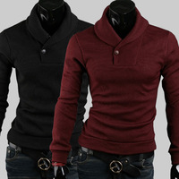 Free ShippingForeign purchasing new Korean version of solid color skinny sweaters of autumn and winter plus size men's